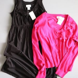 Women's Maternity M Black Dress with Pink Sweater